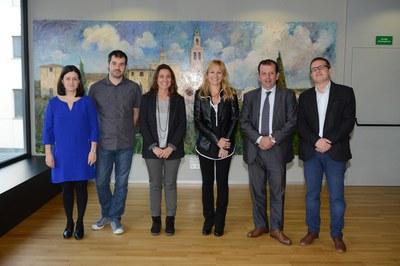 Els alcaldes i els responsables de promoció econòmica dels tres municipis (foto: Localpres).
