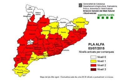 Un total de 25 comarques de Catalunya tenen activat el nivell 2 del Pla Alfa (Generalitat de Catalunya).