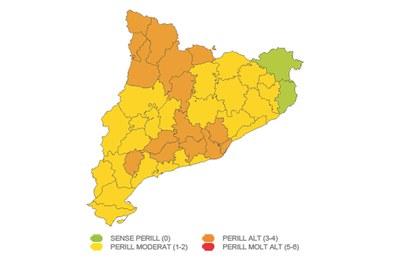 Mapa de la previsió de ventades (foto: Departament d'Interior).