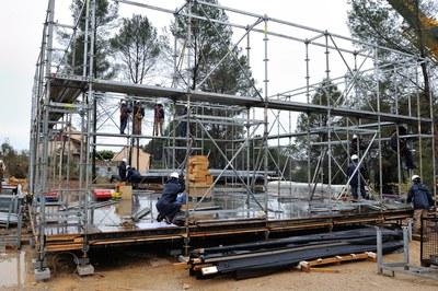 Muntatge de l'estructura del prototip 'Ressò' (foto: Localpres)