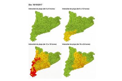 Previsió per avui. El color groc indica un risc  baix, mentre que el carbassa representa un risc moderat (foto: CECAT).