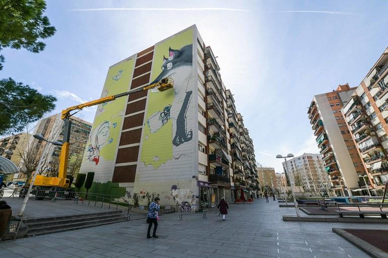 Mural on Plaça Constitució