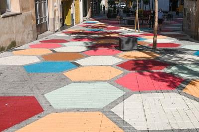 Carpet on Plaça Pere Esmendia.