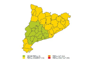 Mapa de la previsión de nieve (foto: Meteo.cat).