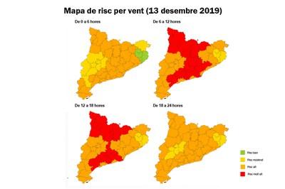 Previsión de viento para este viernes (fuente: Servei Meteorològic de Catalunya).