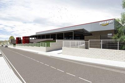 Simulación de la nueva estación logística de Amazon en Rubí (fuente: Amazon).