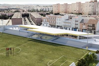 Imagen virtual del nuevo edificio y de la zona de gradas (foto: Ayuntamiento de Rubí).