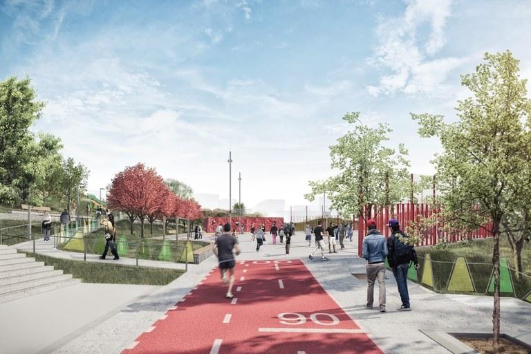 La entrada principal al nuevo parque de La Serreta se ubicará en la calle Carrasco i Formiguera (imagen virtual)