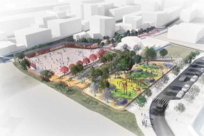 El espacio donde se construirá el parque de La Serreta es un solar de unos 10.000 m², ubicado en la Zona Norte (imagen virtual)