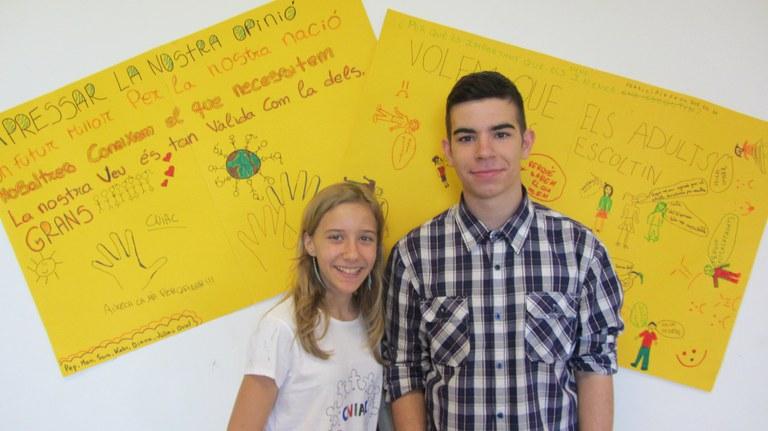 Los rubinenses Sarina Lievens y Carlos Gallego, delante del photocall