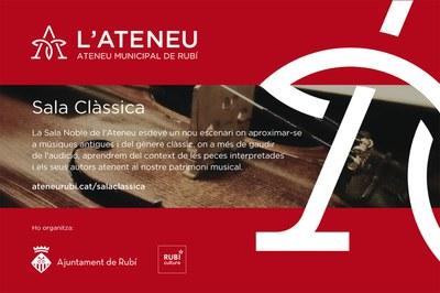 El ciclo Sala Clàssica llega este viernes al Ateneu.