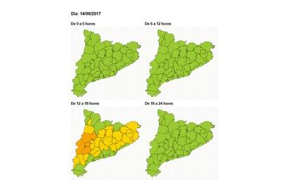 El Vallès Occidental se encontrará el miércoles en situación de peligro moderado por altas temperaturas (imagen: CECAT).