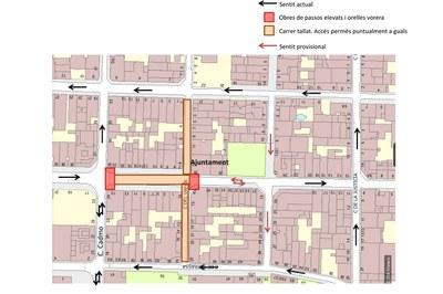 Mapa de las afectaciones viarias que comportarán estas obras