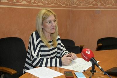 La alcaldesa, durante la comparecencia para anunciar las nuevas medidas (foto: Ayuntamiento de Rubí - Localpres).