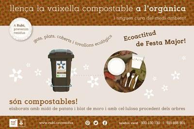 Los vasos compostables, 100% biodegradables, se tienen que tirar en el contenedor marrón, el de la orgánica.