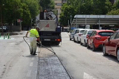 La primera intervención se ha realizado en el aparcamiento del Rubí Forma (foto: Ayuntamiento de Rubí).