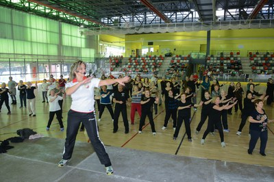 Los grupos de gimnasia de mantenimiento se han reunido este viernes en el pabellón municipal de La Llana (foto: Localpres).