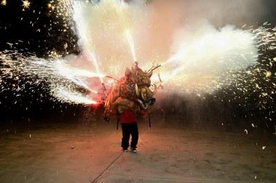 El Encuentro de bestias de fuego se ha hecho en la Escuela Montessori (foto: Ayuntamiento de Rubí - Localpres).