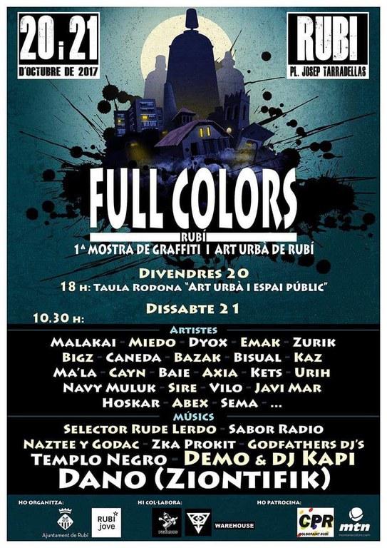 Cartel de la 1ª muestra de grafiti y arte urbano Full Colors de Rubí