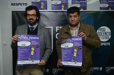 Albert Montull y Juan López, presentando la 4ª Jornada de Fútbol Femenino del Vallès Occidental–Terrassa (foto: Localpres).
