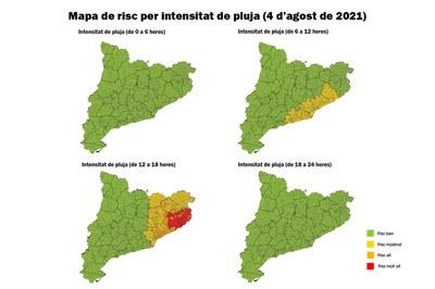 Mapa de riesgo de intensidad de lluvia.