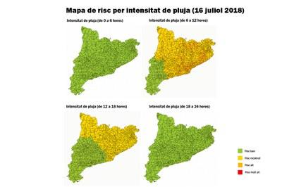 Según las previsiones, el peligro en Rubí y en buena parte de la comarca este viernes es alto.