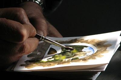 La acuarela es un tipo de pintura de colores transparentes conseguidos por la disolución de los pigmentos en agua y goma arábiga.
