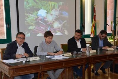Los concejales de Rubí, Rafael Güeto; Sant Quirze, Àlex Brossa; Cerdanyola, Marc Costa, y Barberà, Pere Pubill, durante la presentación de las actividades.