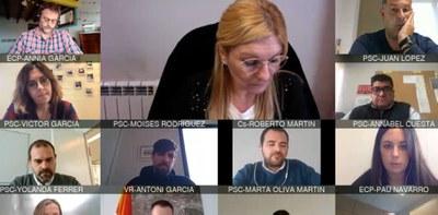 El pleno extraordinario se ha celebrado de forma telemática (foto: Ayuntamiento de Rubí).