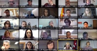 La sesión de este jueves se ha celebrado de forma telemática (foto: Ayuntamiento de Rubí).