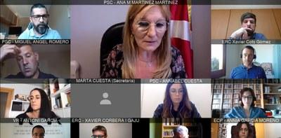 Por primera vez, el Pleno se ha reunido de forma telemática (foto: Ayuntamiento de Rubí).
