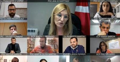 La sesión plenaria del mes de octubre se ha celebrado nuevamente de forma telemática (foto: Ayuntamiento de Rubí).