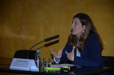 Matilde Delgado, profesora titular del Departamento de Comunicación Audiovisual y Publicidad de la UAB, durante su conferencia (foto: Localpres)