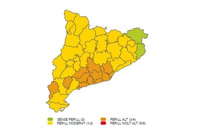 Mapa de la previsión de vientos para este viernes (foto: Meteo.cat).