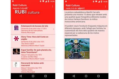 La app de Rubí Cultura permite consultar la agenda de actividades de la ciudad.