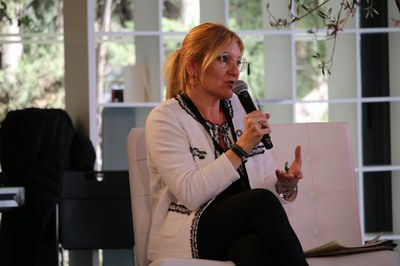 La alcaldesa, durante su intervención (foto cedida).