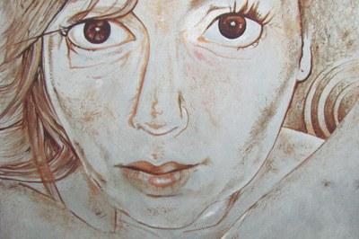 Detalle de uno de los retratos que forman parte de la exposición de Sandra Bea.