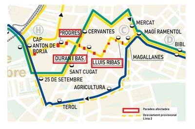 La línea L2 del autobús urbano modifica su recorrido entre las paradas Magallanes y CAP Anton de Borja.