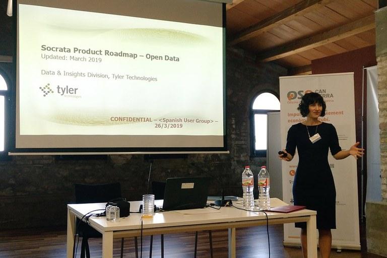 Rebecca Wage, representante de SOCRATA en Europa, durante su intervención (foto: Ayuntamiento)