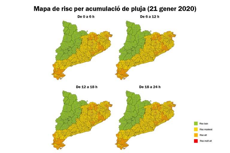 Previsión de acumulación de lluvia para el martes 21 de enero