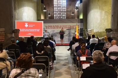 El homenaje se ha realizado siguiendo las medidas para evitar la propagación de la COVID-19 (foto: Ayuntamiento de Rubí - Localpres).