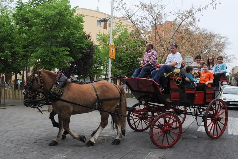 Unos 250 niños y sus acompañantes dieron una vuelta en carro gracias a la actividad 'Puja't al carro de Sant Antoni' (foto: Localpres)