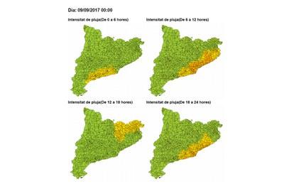 Previsión para el sábado. El color amarillo indica un riesgo bajo, mientras que el naranja representa un riesgo moderado (foto: CECAT).