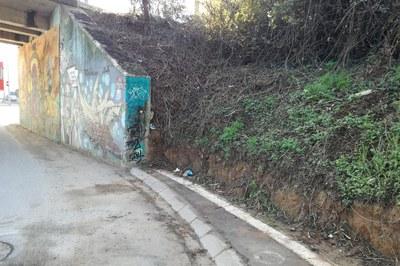 Entre otros, se llevará a cabo la contención de tierras y vegetación del talud existente a ambos lados del túnel situado en la entrada de la calle.