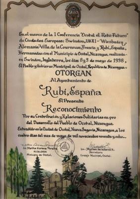 Reconocimiento de Ocotal a la ciudad de Rubí