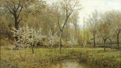 Escola d'Olot. Arbres en flor, obra de Joaquim Vayreda (1892).jpg
