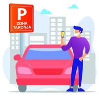 El aparcamiento en la zona naranja se debe gestionar a través de la app Parkunload
