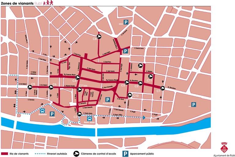 Plano de la zona peatonal