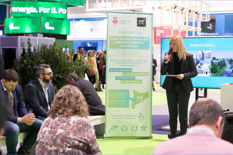 L'alcaldessa, durant la presentació a la COP25